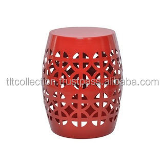 Red Garden Stool Side Table Aluminum Metal Colored Stools Flower Cut Design