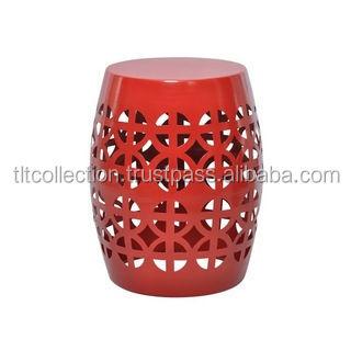 Beau ARTISAN RED GARDEN STOOL/ SIDE TABLE Aluminum Stool Metal Stool Colored  Stools Flower Cut Design