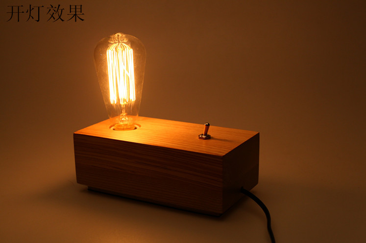 Antique table lamp Creative wood table light