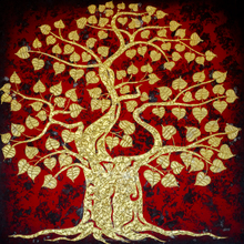 Thai Bodhi Tree Handpainted with Acrylic and Gold Leaf Traditional Asian Wall Art Painting