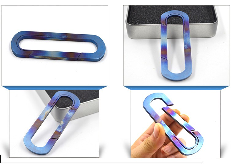 90mm O Shape anodizing surface titanium metal Carabiner , wholesale custom keychains