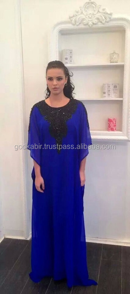 Top Market Selling HI FASHION Beach luxury beaded tunic chiffon./Dubai very fancy kaftans/ Jalabiya Ladies Maxi Dress for party.