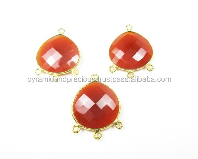 Carnelian Heart Shape Gold Plated Sterling Silver Bezel Gemstone Connectors - 4 Loop Connector