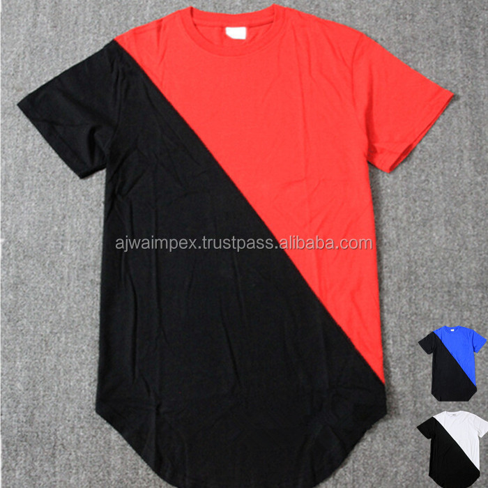 Custom new side zipper tall elongate extended long T shirt 100% cotton