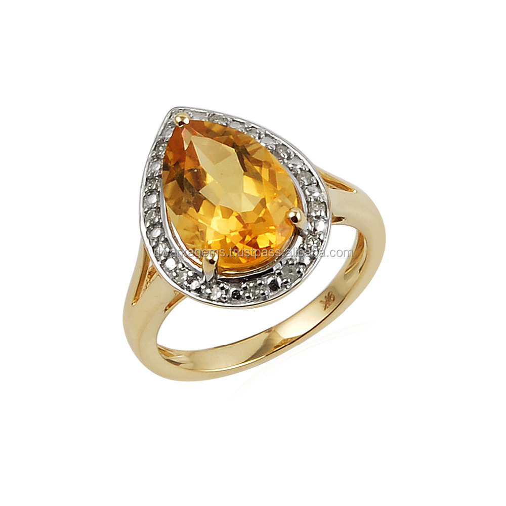 Pear shaped citrine ring stud with white CZ wholesale silver jewelry gemstone rings