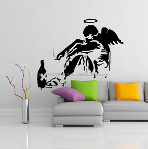 Banksy Vinyl Wall Decal Giant Fallen Angel with Rome Bottle Street Graffiti Art Canvas Decor Sticker