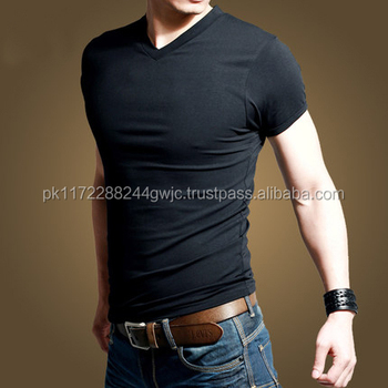 33768bdd Best Price Cotton Plain V Neck T Shirts Men Blank Tshirt Slim Fit Cheap  From China
