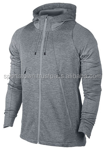 2016 Custom Made Heather Grey Hoodies / Wholesale Man's Zip Up Cotton Fleece Hoodies