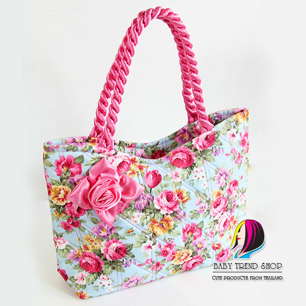 Handbags   Vintage Floral Ladies Handbags With Front Rose Ribbon And  Twisted Fabric Handle