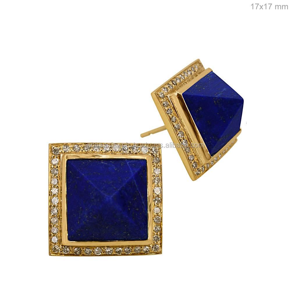 76b7e98ea 18k Solid Gold Diamond Square Pyramid Shape Lapis Lazuli Stud Earrings  Gemstone Jewelry Supplier