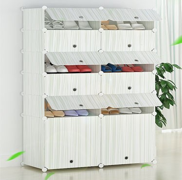 China alibaba household cleaning product large space non-woven shoe rack double line simple tall shoe cabinet