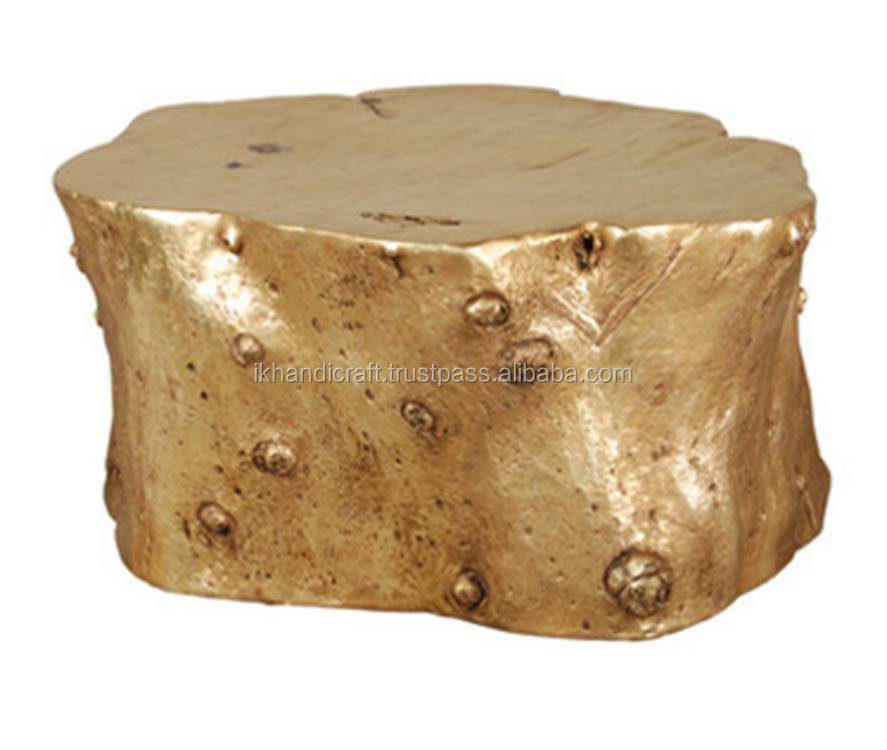 Log style LIVING ROOM'S COFFEE TABLES made by aluminium from India / GOLD log LOW HEIGHT COFFEE TABLE