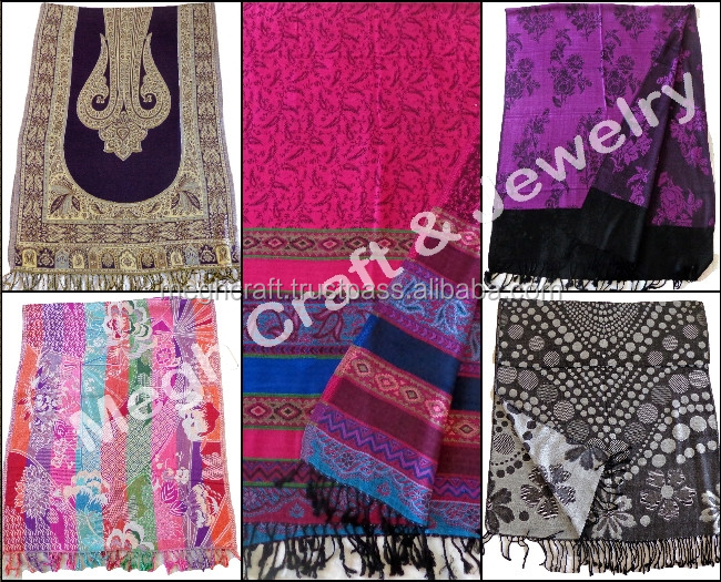 100% Silk Scarf in reversible - Indian silk 2 color stoles - Wholesale Silk Pashmina Stole / Scarf / Shawl -Diwali special 2016