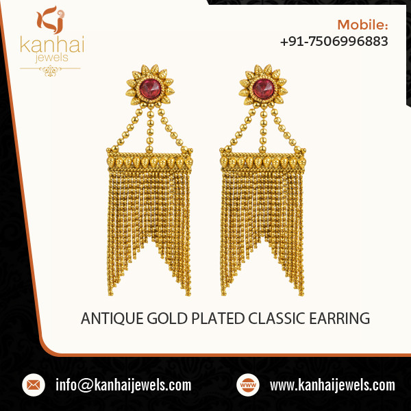Unique Classic Design Antique Gold Plated Earring at Market Rate -10845