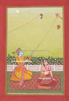 Hindu God Krishna Radha Kite Painting Artwork Vedic Yoga Rare Indian