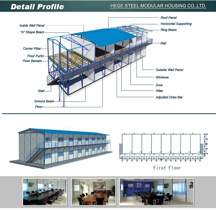 Standard 20ft/30ft/40ft low cost Beijing accommodation assembly prefab house