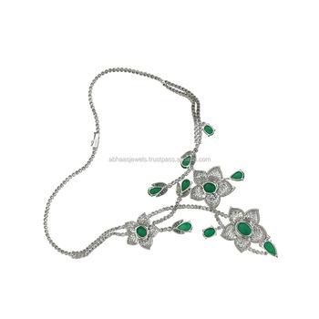 Emerald Diamond Floral 18k Gold Necklace Set New Buy Solid 18k