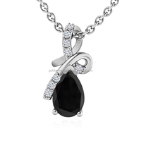 hot sale fashion big black diamond centre pendant 1 carat elegant charm necklace and white diamonds .hot gift for December
