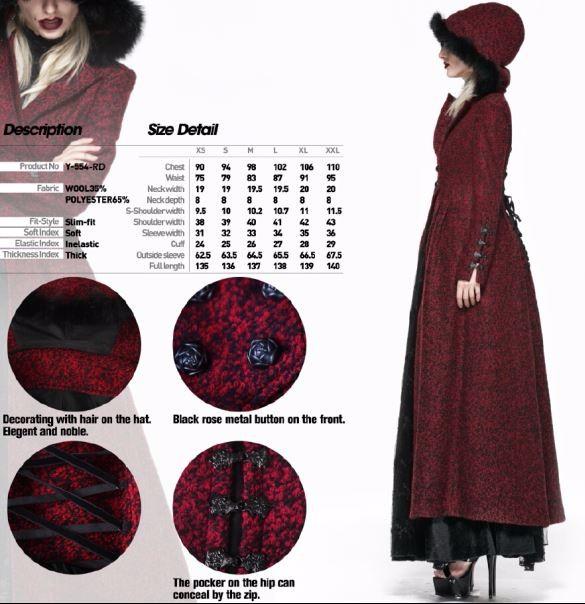 Gothic Punk Rave Vrouwen Rode Lange Jas Met Kap En Faux Fur Y 554 Buy Vrouwen Lange Jassen,Vrouwelijke Rode Jas,2016 2017 Collectie Product on