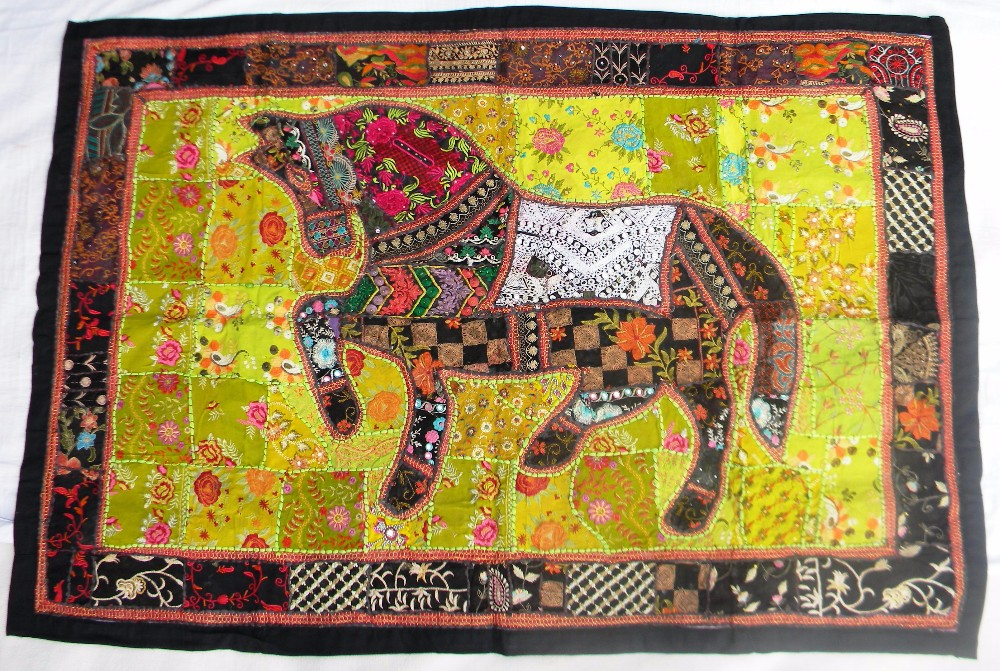 Indian Old Fabric Wall Decor With Horse Figure - Handworked Cotton ...