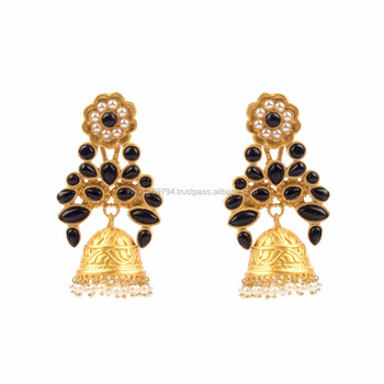 c093d6325ae Black Color Stone Mughal Style Jhumka Gold Plated Matt Finished Designer  Pearl Beaded Ethnic Earrings