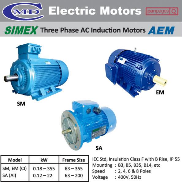 Simex three phase ac induction motors aem buy electric for 3 phase 4 pole ac induction motor