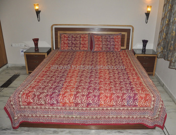 cdce400ad68 Indian Home Decorative Hand Block Print Work Floral Design Bed Sheet with Pillow  Cover