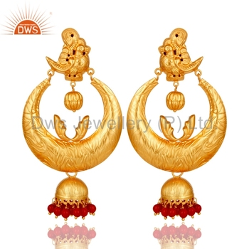 d0731d627 South Indian Designer Gold Plated Jhumkas 925 Silver Coral And Pearl  Gemstone Earrings Manufacturers of Traditional