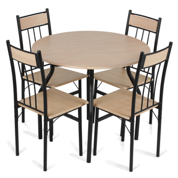 Good Metal Cheap Modern Dining Set Table And Four Chairs Carmen 20011 Oak Color