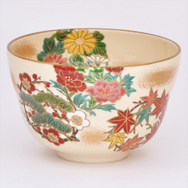 Feel the season Autumn tea bowl iroe marumon shikisouka for drink matcha japanese tea ceremony