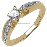 0.59Cts White Diamond F/C Round 9K Yellow Gold Ring.