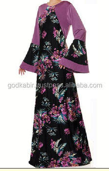 Classic Design Beautiful flower printed Royal Party wear Collection Mauve Floral Wide Bell Sleeves Jersey Abaya Maxi Dress.