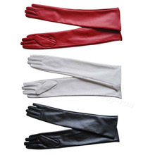 New Warm Women's Long Genuine PU Leather Winter Gloves Red Black White