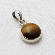 <span class=keywords><strong>Nhỏ</strong></span> <span class=keywords><strong>nhắn</strong></span> Brown Tiger Eye 925 Sterling Silver Mặt Dây Chuyền, Làm Đồ Trang Sức Bạc, Trang Sức Bạc Tốt
