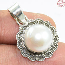 Marvelous fine 925 sterling silver pearl gemstone pendant indian online wholesale jewelry silver pendant