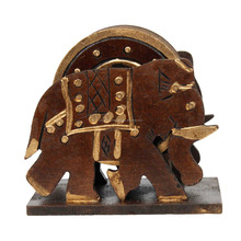 Elephant Design Wooden Tea Coaster Handicraft