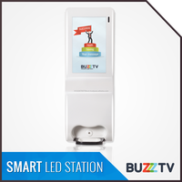 Smart Led Station with hand saniitizer dispenser 19 inches touch screen