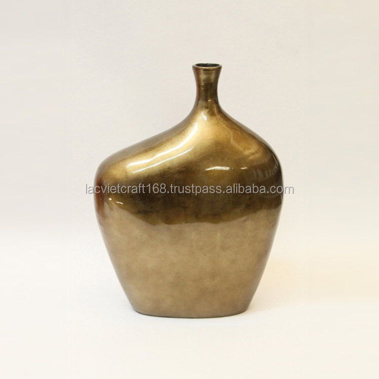 Best selling High quality eco friendly Large Bronze Silver Lacquered Vase from Vietnam