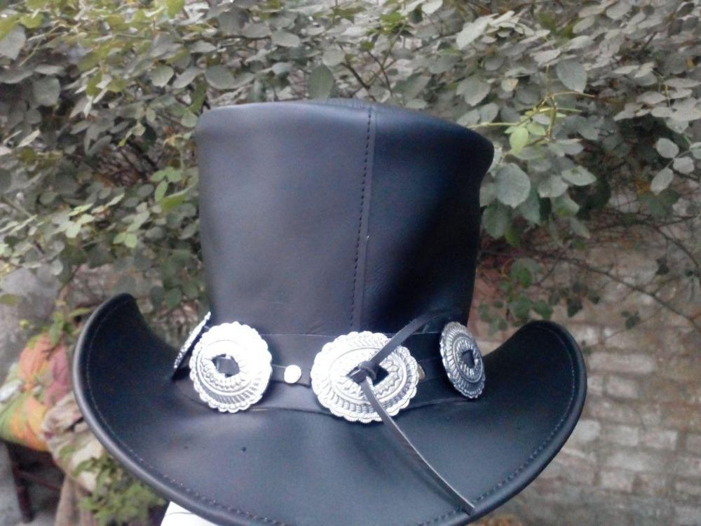 Cuero genuino negro ROCK concierto GUNS N ROSES SLASH estilo sombrero HEAVY  METAL 37b18e28850f