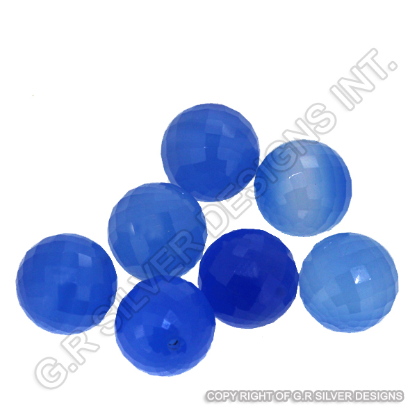 Blue Chalcedony Faceted Ball Gemstones Drilled Loose Semi Precious Stone Suppliers