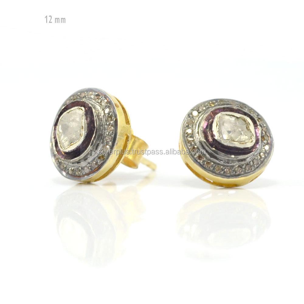 925 Sterling Silver Rose Cut Polki Diamond Stud Earrings Jewelry Whole Manufacturer