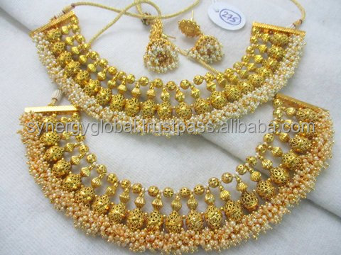 Indian Bollywood Traditionnel Plaqué OR NEUF ethnique Fashion Jewelry Collier Set