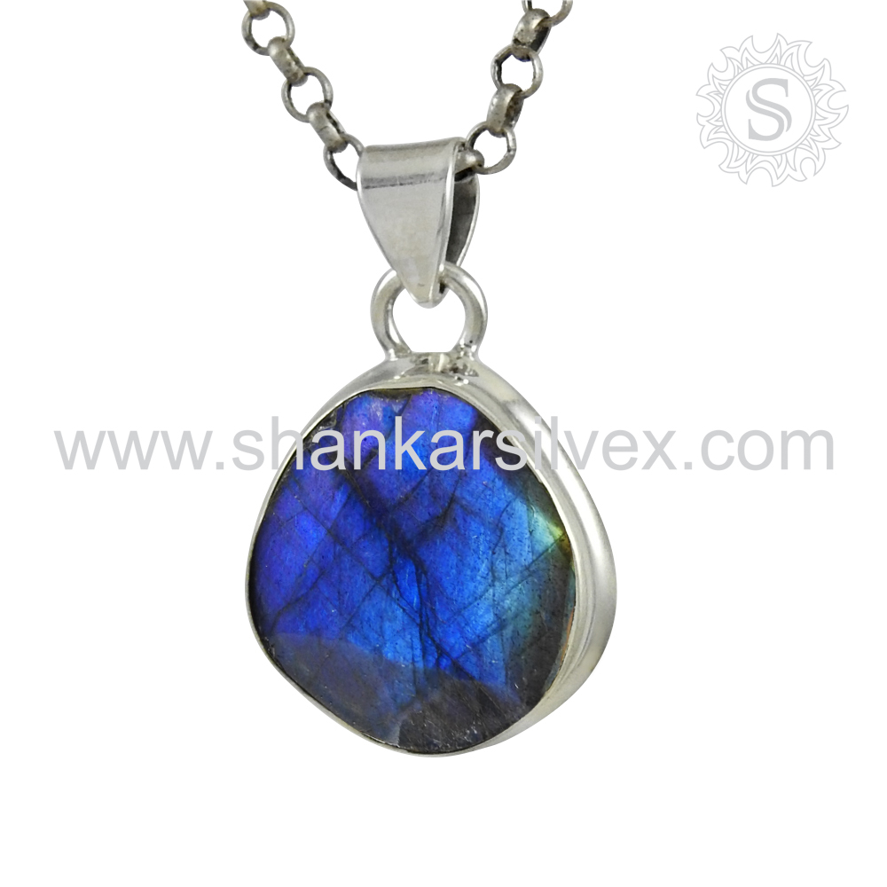 Lightness Blue Labradorite Jewelry Pendant Indian Silver Jewelry 925 Sterling Silver Wholesaler