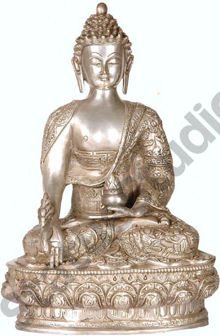 Medicine Buddha with Robe Decorated with life story Masterpiece Statue 13""