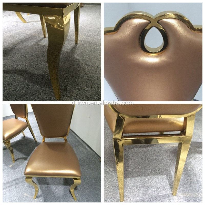 Modern luxury gold stainless steel used restaurant table and chair