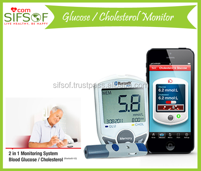 Blood Glucose Meter With Cholesterol, Diabetes Glucose Monitor, Diabetes Health Monitor Bluetooth, SIFGLUCO-3.1