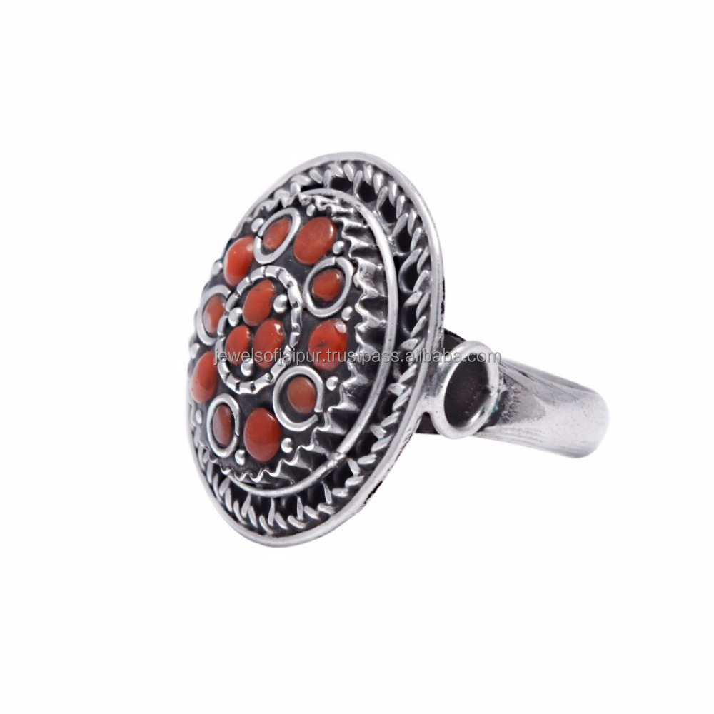 Latest Fashion Tribal Natural Coral Gemstone Ring, Oxidised Silver Ring Party Wear Jewelry