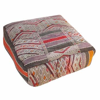 Vintage Handmade Moroccan Kilim Floor Pillow Footstool Pouffe ...
