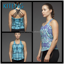 2016 Athletic abstract printed with crisscross straps tank with sport bra two in one Office In United States (USA)Small Minimum