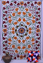 Suzani Floral Twin Quilt Throw Wall Hanging Ethnic Bedspread Hand Embroidered Bed Sheet